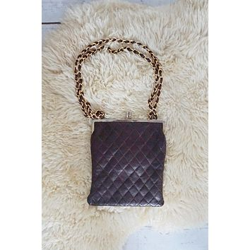 Vintage Quilted  Leather Chain-Strap Bag