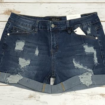 JB Medium Wash Destroyed Cuffed Denim Jean Shorts
