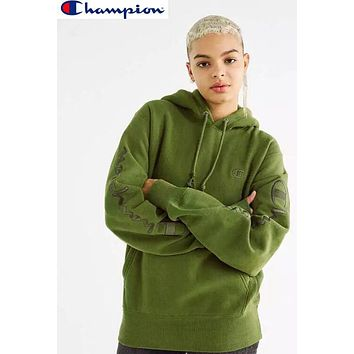 Champion Fashion Women Men Loose Embroidery Hoodie Velvet Couple Sweater Top Sweatshirt Green