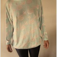 On sale Cute White Swan print Knit Sweater light Blue Pullover