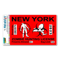 New York NY Zombie Hunting License Permit Red - Biohazard Response Team MAG-NEATO'S TM Car-Refrigerator Magnet
