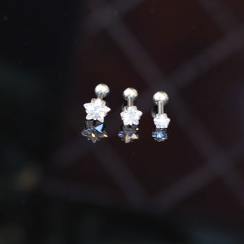 Star CZ Triple Helix Cartilage Earrings Body Piercings Ear 3 Piece Set