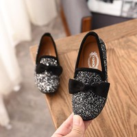 Girls Princess Bow Shoes Fashion Sequins Glitter Leather Kids Flats Children's Loafers Party Wedding Halloween Shoes