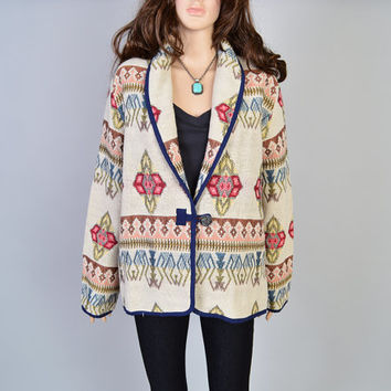 1990s Southwest Jacket / VIntage Coat / Navajo Blanket / Oversized Fit / Blazer Coat / Southwestern Desert / Size Medium