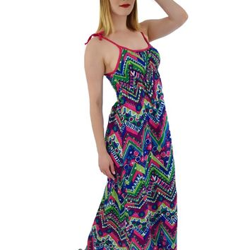1970s Psychedelic Floral Empire Maxi Dress-M
