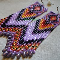 Native American style Brickstitch earrings in Lavender and fire colors