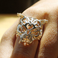 Silver Zodiac Tiger Ring, Chinese Astrology, Chinese Zodiac Ring, Macan Ring, free shipping