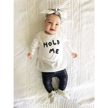 New 2016 autumn baby girls clothes letter pattern long sleeve t-shirt+pants kids 2pcs suit newborn baby girl clothing set