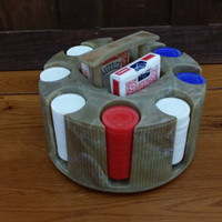 Vintage Bakelite Lazy Susan Poker Chip Carousel Set With Playing Cards Man Cave Game Room Decor