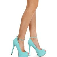 Mint Open Toe Pump