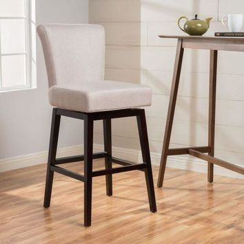 Tristan Fabric Swivel High Back Counter Stool