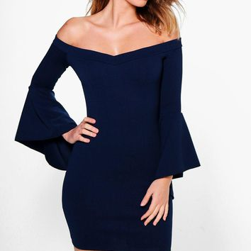 Ayra Off Shoulder Flared Sleeve Bodycon Dress | Boohoo