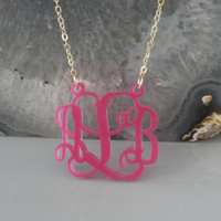 """Pink Acrylic Monogram - 1.25"""" Inch -Personalized Pendant Gold Plated Chain Hand Made Design Christmas Gift"""