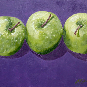 Granny Smith Apples Still Life Painting, Small Format Art, Apple Painting, Apple Still Life