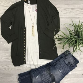 Oh Snap Cardigan in Olive