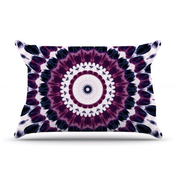 "Iris Lehnhardt ""Batik Pattern"" Purple Geometric Pillow Case"