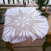 Hand Crocheted Table Topper. White Flower Petal Pattern. Can Be Used on a Small Side Table or as a Centerpiece for a Large Table.