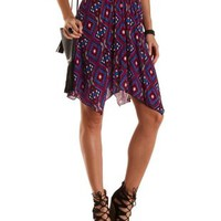 Aztec Print Handkerchief Skirt by Charlotte Russe