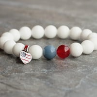 USA flag bracelet beaded bracelet patriotic jewelry America charm US Flag military wife gemstone bracelet national red blue white men woman
