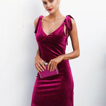 Solid Knotted Strap Burgundy Velvet Slip Dress