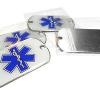 EMS 2 Hole Tag, 5 Pack, Paracord Supply, Stainless Steel, EMS Logo, 2 Hole Paracord Tag, EMT Logo Tag, First Responder, Paracord Dog Tag