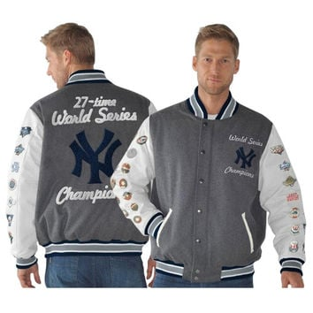 New York Yankees Linebacker Wool Commemorative Full Zip Jacket - Navy Blue/White/Charcoal