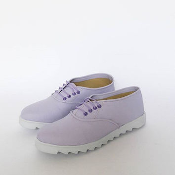 Lavender Pony Oxfords, White Sawedge sole, vegan