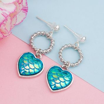 DoreenBeads Handmade Earrings Ear Stud Antique Silver Color Mermaid Fish / Dragon Scale Blue AB Color Heart Round, 1 Pair