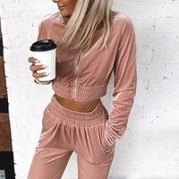 Chloe Anne Cropped Two-Piece Sweatsuit