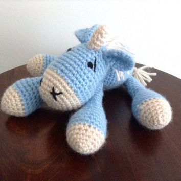 Crochet Amigurumi Unicorn, Unicorn toy, Blue unicorn, Stuffed unicorn, Unicorn plushie, Knitted toy, Fantasy, Gifts under 50, Handmade gift