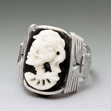 Carved Bone (bovine) Skull Bride Cameo Sterling Silver Wire Wrapped Ring