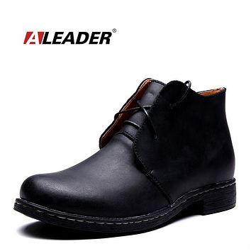 Waterproof Autumn Men Fashion Boots Casual High Quality Genuine Leather Men Ankle Boots Brand Men Shoes Design Cowboy Boots Male