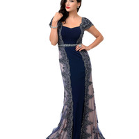 1930s Style Navy & Nude Beaded Lace & Jersey Gown