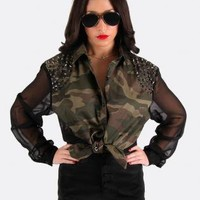 Army Style Button Down Blouse with Sheer Sleeves and Back