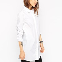 ASOS Longline White Shirt at asos.com