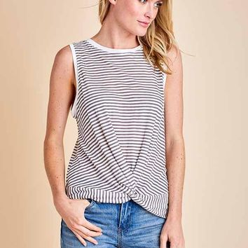 Mustard Seed Knot Front Striped Tank