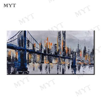 MYT Hand Painted Abstract Golden Gate Bridge Oil Painting On Canvas Abstract Wall Art Picture Living Room Bedroom Wall Decor