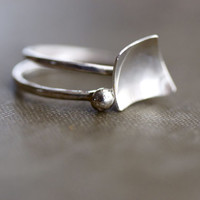 Set of Two Stacking Rings - Geometric - Sterling Silver