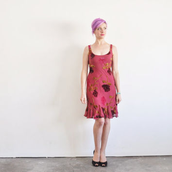 sheer floral velvet dress . 90s Betsey Johnson frock .small .sale