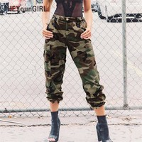 HEYounGIRL Camo Pants for Women Camouflage Casual Trousers Harem Pants Winter High Waist Hip Hop Sweatpants Green Pantalon Mujer