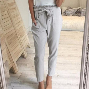 Women's Gray Simplee Gorgeous High Waisted Harem Casual Ankle Pant with Tie