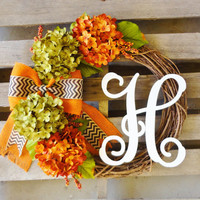 Wreaths,Fall Wreath,Monogrammed Wreath,Harvest Wreath, Hydrangea Wreath, Door Monogram,Thanksgiving Decor, Fall Decor