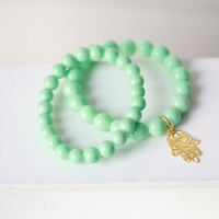 Mint Green Charm Bracelet Set  - Thomas Sabo Inspired Mint Green Beaded Bracelet - Charm Bracelet