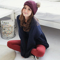 YESSTYLE United Kingdom: Loose-Fit Cable-Knit Sweater (Dark Blue - One Size)