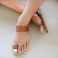 Sandals - Genuine Greek Style Leather Sandals in Brown colour