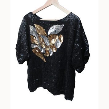 Gold, Silver and Black Sequin Beaded Embellished Pattern Top | Chiffon Shell | Women's Size Small