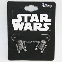 Licensed cool Star Wars R2D2 Droid Robot Stud Post Insertion Burnished Silver Color Earrings