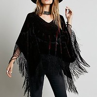Free People Womens Janis Velvet Pullover Poncho