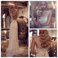 2016 Ivory Chiffon Sheath Wedding Dresses V Neck Sleeveless Sweep Train Beading Bow Bridal Dress Anna Campbell Giselle