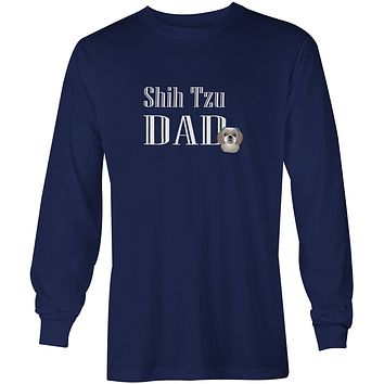Gray Silver Shih Tzu Dad Long Sleeve Blue Unisex Tshirt Adult Extra Large BB5258-LS-NAVY-XL